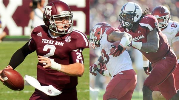 Texas A&M quarterback Johnny Manziel, left, and South Carolina defensive end Jadeveon Clowney, right, are the two most talked about players entering this year's NF Draft, which starts Thursday. (Source: MGN Online/South Carolina Athletics)