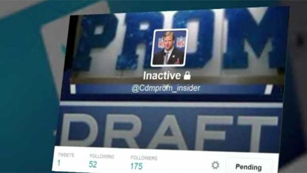The Twitter account @Cdmprom_insider is where high school students jockeyed for draft spots and got updates on the prom draft. (Source: Twitter/KCAL/KCBS/CNN)