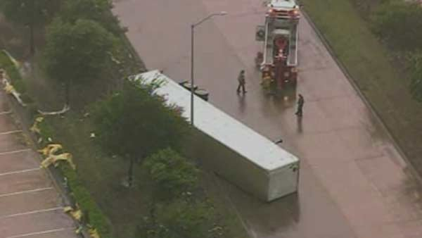 Severe weather overturned a tractor trailer in Dallas. (Source: NWS)