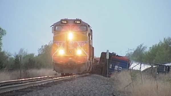 High winds in Kansas knocked a train off its track on Wednesday. (Source: KWCH/CNN)