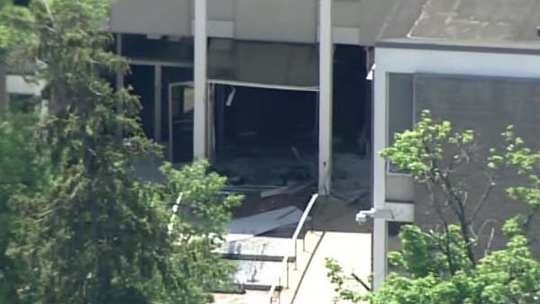 A man rammed a stolen truck into the front of a Baltimore-area television station. (Source: WJZ/CNN)