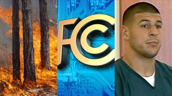 Wildfires in California, the FCC's consideration of internet regulations and Aaron Hernandez's new criminal charges all made headlines this week.