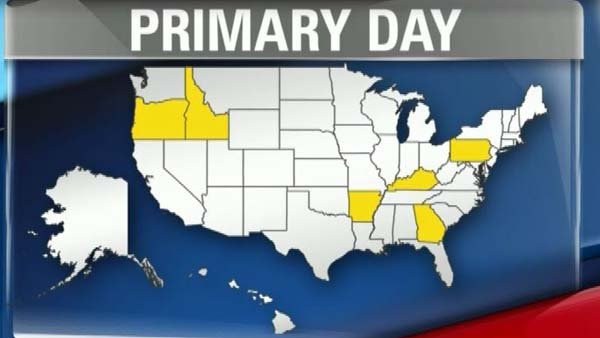 Six states hold primary elections Tuesday: Oregon, Idaho, Arkansas, Kentucky, Pennsylvania and Georgia. (Source: CNN)