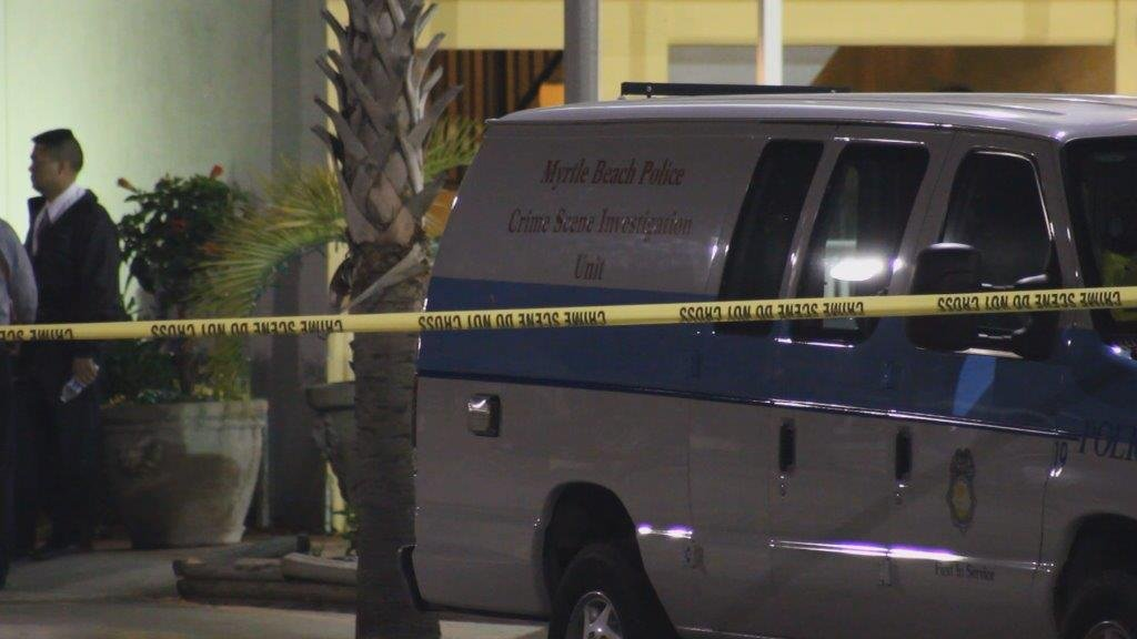 The investigation of the hotel crime scene in Myrtle Beach, SC is underway. (Source: WIS TV)
