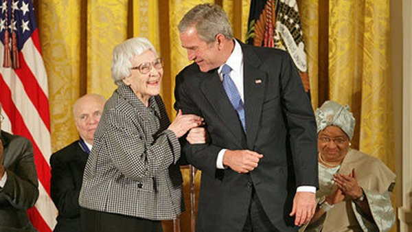 Harper Lee, the author of the novel 'To Kill a Mockingbird,' was awarded the Presidential Medal of Freedom by President George W. Bush in 2007. (Source: White House photo by Eric Draper)