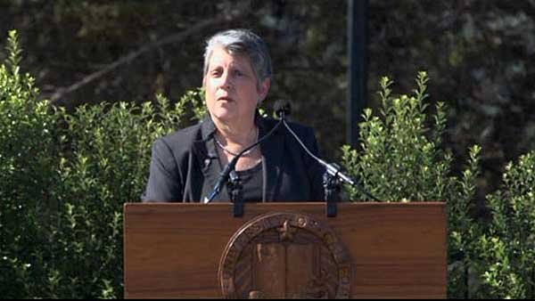 Janet Napolitano, the University of California system president, spoke at the vigil on Tuesday. (Source: CNN)