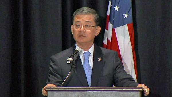 Veterans Affairs Secretary Gen. Eric Shinseki speaks Friday in Washington, DC, at a meeting on homeless veterans. (Source: CNN)