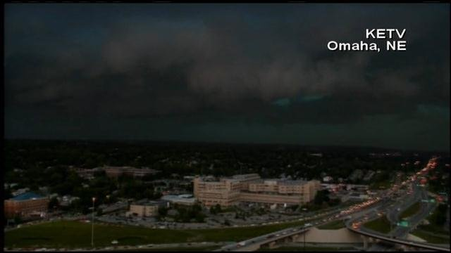 Severe weather, fueled by a derecho, darkened the skies Tuesday afternoon in Omaha, NE. (Source: KETV/CNN)
