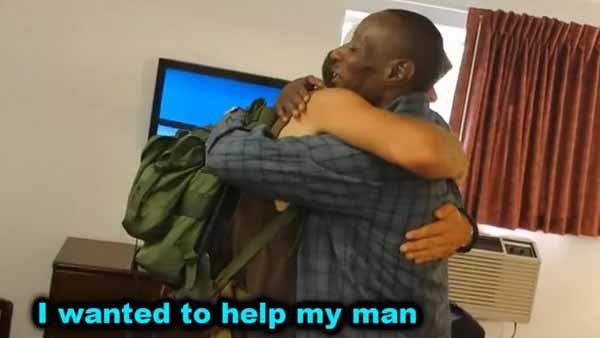 Eric, the homeless guy who was gifted a house, used his new found security to help another homeless man. (Source: MagicofRahat/YouTube)