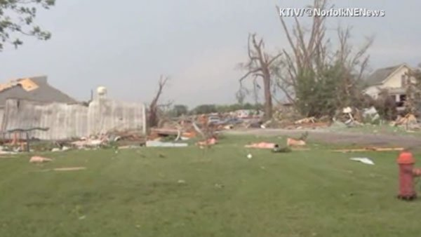 Two long-track tornadoes touched down in Nebraska Monday. (Source: KTIV/Norfolk News Bureau/CNN)