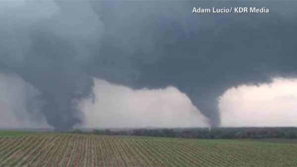 Dual tornadoes hit Pilger, NE Monday afternoon, killing one and injuring 16 others. (Source: Adam Lucio/KDR Media/CNN)