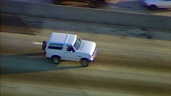 On June 17, 1994, OJ Simpson, and friend, Al Cowlings led police on a low-speed chase after Simpson was charged with murder and failed to turn himself in. (Source: CNN)
