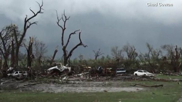 Pilger, NE, was raked by rare twin tornadoes on Monday. (Source: Chad Cowan/CNN)