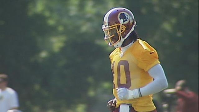 Washington Redskins quarterback Robert Griffin III participates in offseason training camp in Richmond, VA. (Source: WWBT)