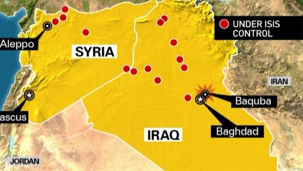 ISIS militants have taken territory across northern Syria and Iraq and have closed to within 40 miles of  Baghdad. (Source: Radio Free Europe/CNN)