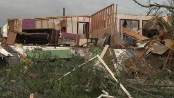 A tornado tore up a house near Humboldt, SD, on Tuesday night. (Source: KSFY/CNN)