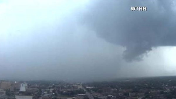 "At least one tornado touched down near Indianapolis Tuesday. (Source"" WTHR/CNN)"