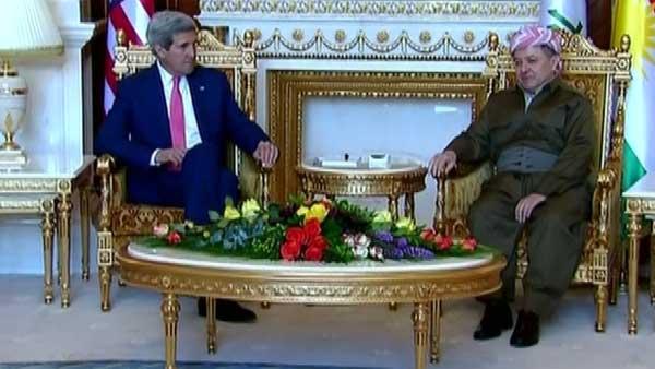 U.S. Secretary of State John Kerry on Tuesday  met with Iraqi Kurdish President Massoud Barzani who says Iraq is falling apart. (Source: CNN)