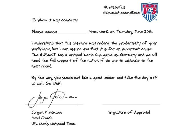 The U.S. Soccer team wants to help people trying to get out of work to watch them play Germany in the World Cup. (Source: U.S. Soccer/Facebook)
