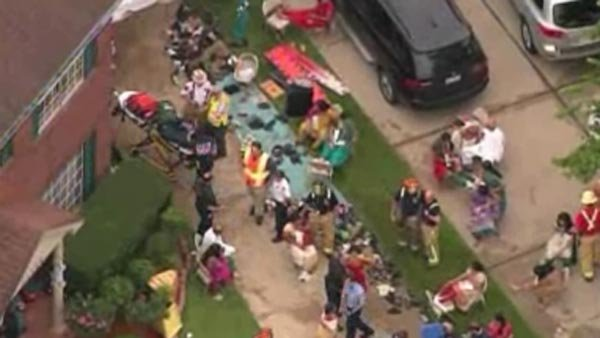 Dozens of people were injured when a detached garage collapsed in a Houston suburb. (Source: KPRC/CNN)