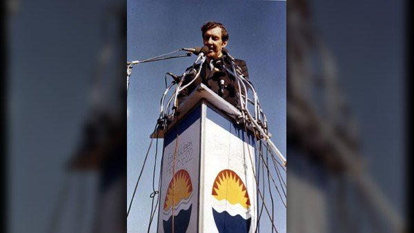 U.S. Sen. Edmund Muskie (D-ME), author of the 1970 Clean Air Act, addressed an estimated 40,000 to 60,000 people at Earth Day in Philadelphia. (Source: Peter54321/Wikicommons)
