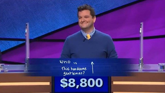 Ari Voukydis has a creative response to the Final Jeopardy clue Thursday. The comedy writer has no issue with self-confidence. (Source: Jeopardy/YouTube)