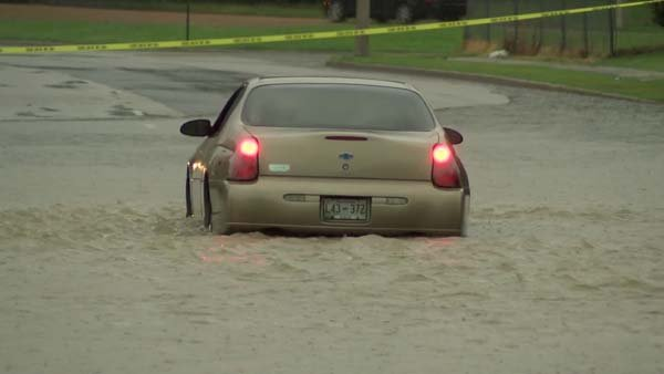 Some motorists needed rescue after encountering flash flooding after severe weather on Sunday. More bad weather is expected in regions across the U.S. on Monday. (Source: WMC)