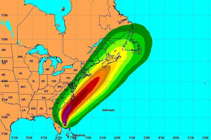 These graphics show probabilities of sustained (1-minute average) surface wind speeds equal to or exceeding 39 mph (tropical storm force). These wind speed probability graphics are based on the official National Hurricane Center track. (Source NWS)
