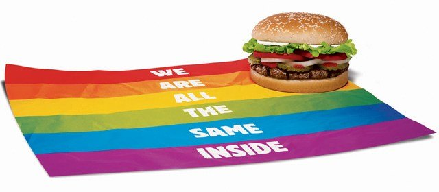 "The 'Proud Whopper' is a regular version of the sandwich in a rainbow-colored wrapper that reads, ""We are all the same inside."" (Source: Burger King)"
