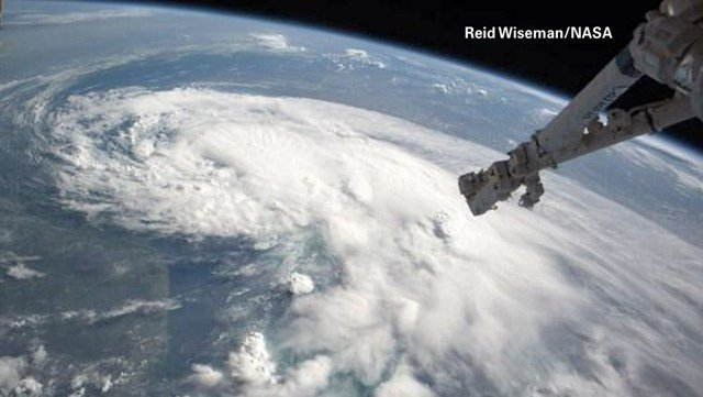 Astronaut Reid Wiseman posted a picture on Twitter of Tropical Storm Arthur taken from space. (Source: Reid Wiseman/NASA/CNN)