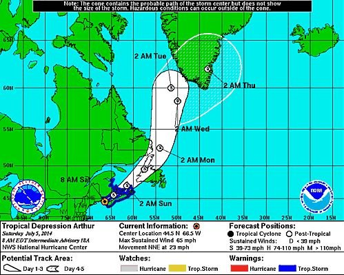 This National Weather Service graphic shows the expected path of Tropical Arthur as of 8 a.m. Eastern.