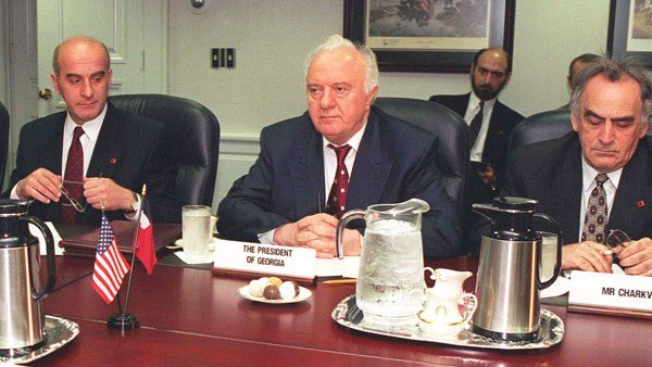 President Eduard Shevardnadze of Georgia is shown during a meeting with Secretary of Defense William Cohen, not shown, at the Pentagon in 1997. (Source: DOD)