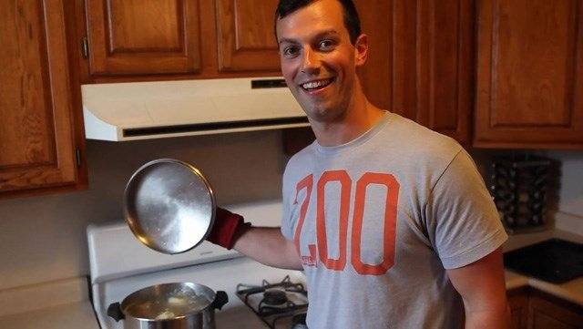 Zack Danger Brown practices perfect potato preparation in a video thanking his supporters. His Kickstarter to raise money for potato salad has gotten more than $9,300 in donations. (Source: YouTube.com)