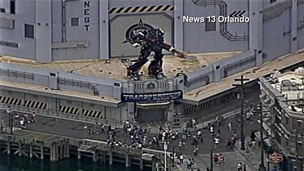 Guests at Universal Studios in Orlando had to be rescued from a Transformers ride. (Source: CNN)