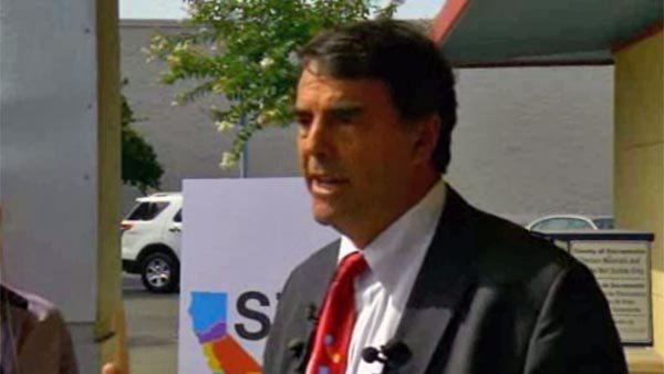 Tim Draper speaks about his plan to break up the state of California during a news conference Tuesday. (Source: KCRA/CNN)