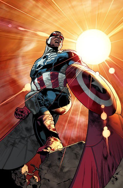 An upcoming storyline will have Sam Wilson, aka Falcon, replace Steve Rogers as the new version of Captain America. (Source: Marvel Comics)