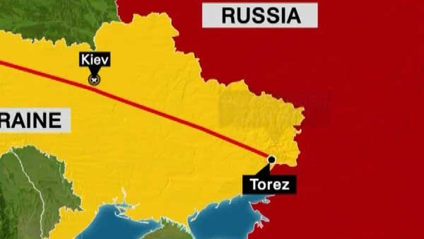 A map shows the path of the ill-fated flight, which was shot down over rebel-held Ukrainian air space on Thursday. (Source: CNN)