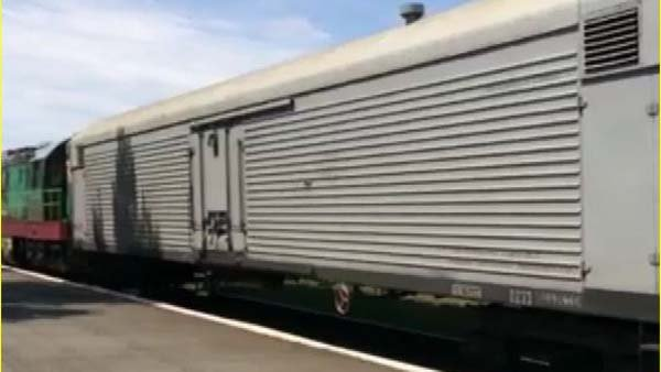 An image of the train used to house bodies thought to be victims of MH 17 crash in Ukraine. (Source: CNN)