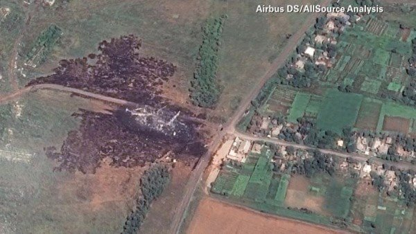 A satellite image shows the crash site. The images cover a 1,3000-square-foot area. (Source: Airbus DS/AllSource Analysis/CNN)