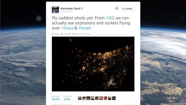 The intense battle between Israrel and Hamas can be seen from space. (Source: Alexander Gerst/Astro_Alex/Twitter)
