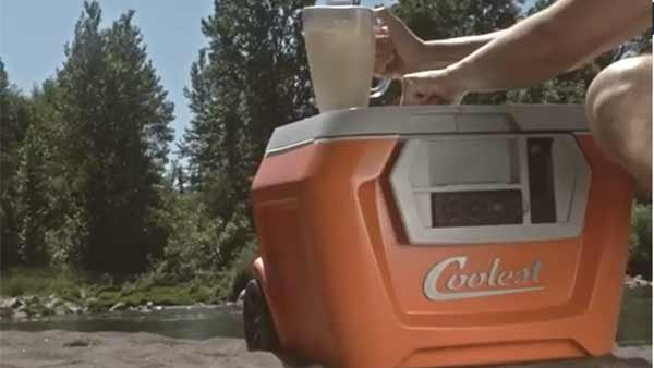 Don't get bored with those 20th century coolers - buy into the technologically-savvy, new millennium version of Ryan Grepper - the Coolest Cooler, and it's set to break a Kickstarter record.  (Source: The Coolest Cooler/YouTube)