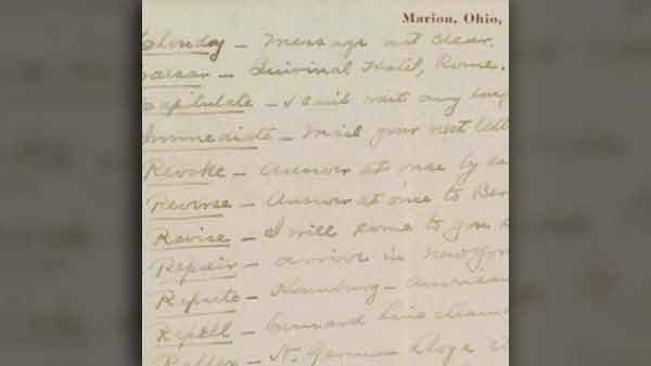 Code words found in a 1912 letter between Phillips and Harding. (Source: Library of Congress)