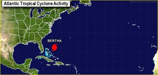 Hurricane Bertha heads north after bringing rain, wind and big waves to Puerto Rico over the weekend. (Source: NHC)