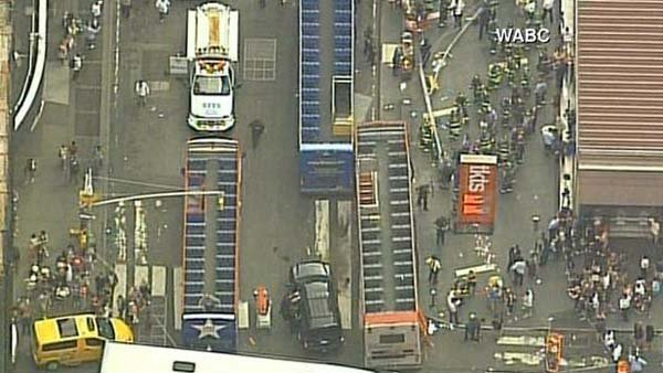 Two double-decker buses collided in Times Square. (Source: WABC/CNN)