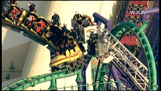 Rescue efforts are underway on the Joker's Jinx roller coaster at Six Flags America. (Source: WJLA/CNN)