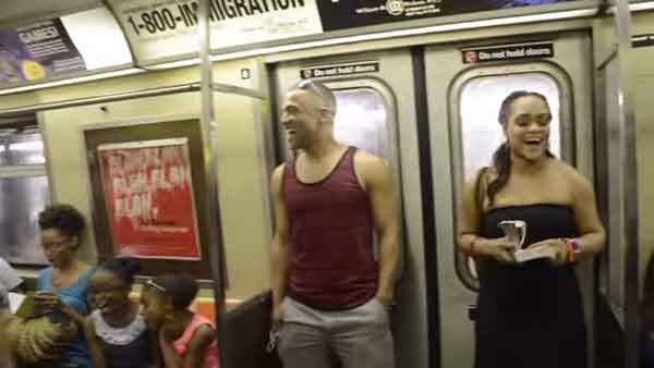 The Broadway cast of 'The Lion King' performed on a busy NYC subway in June. (Source: Jamal Lee Harris/YouTube)