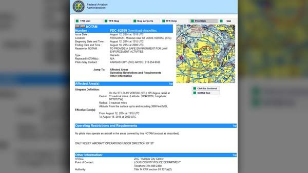 There is a no-fly zone above Ferguson, MO, according to FAA.gov. (Source: FAA.gov)