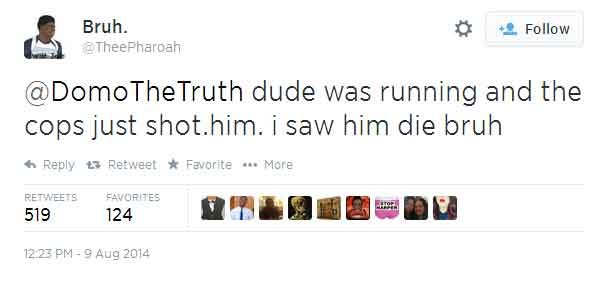 A tweet by Twitter user @ThreePharoah, who live-tweeted the shooting death of Mike Brown on Aug. 9. (Source: Twitter)