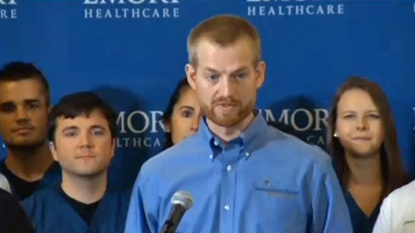 Dr. Kent Brantly, who worked as a medical missionary in Liberia, speaks to the media after he was released from the hospital on Thursday. (Source: CNN)