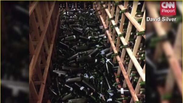 The earthquake caused wine bottles to fall out of wine cellar and break. (Source: DAVID SILVER/CNN)